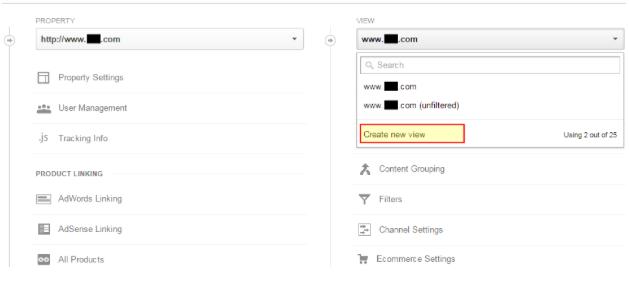 Create a new view Google Analytics