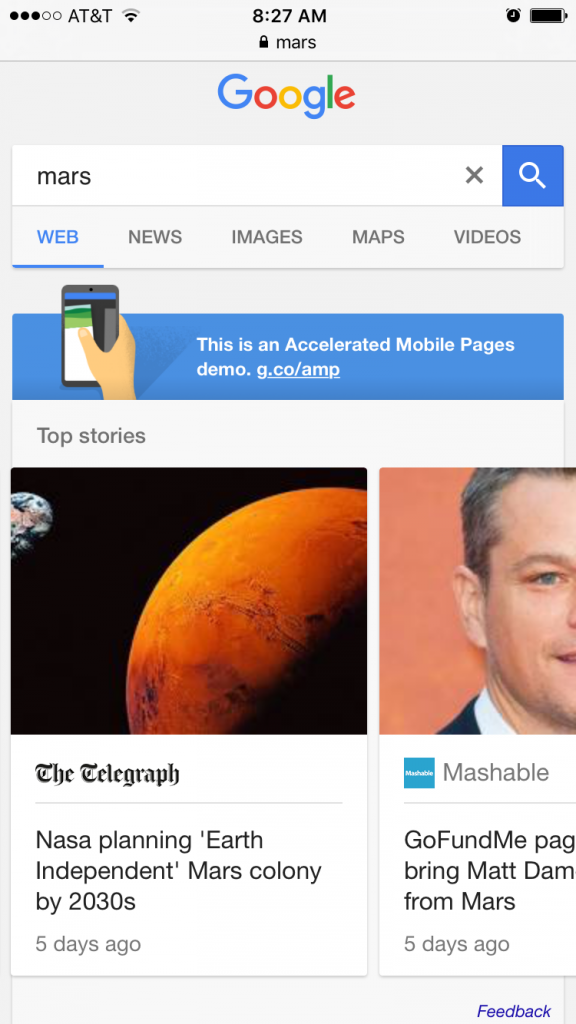Click To See An Example AMP-Enabled Search For 'mars'