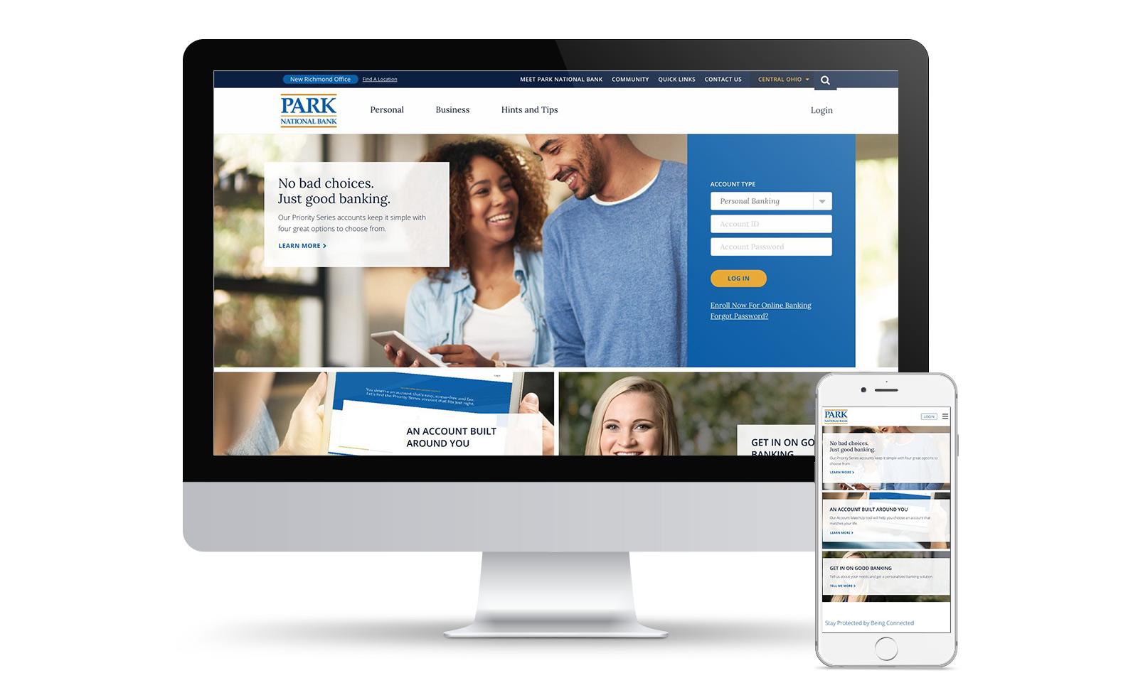 Park National Bank Website on Desktop and Mobile device