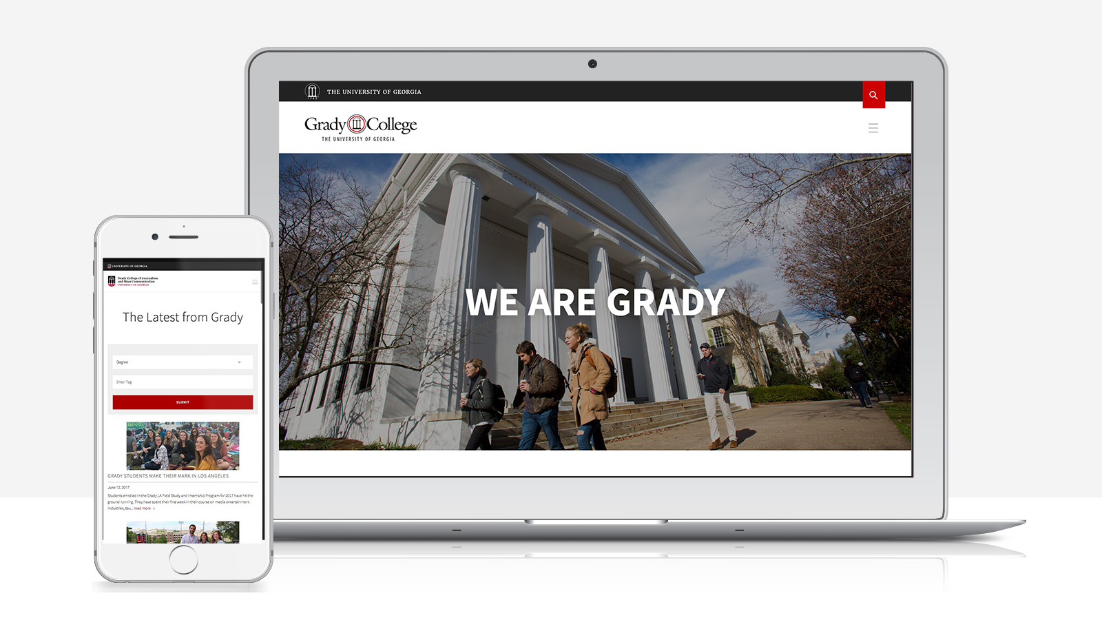 University of Georgia - Grady College website on a computer and mobile device.